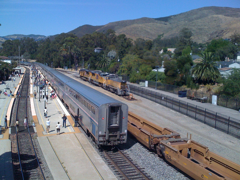 "<span id=""title"">Train Station, San Luis Obispo</span> They had a neat pedestrian bridge over the tracks that I climbed up to get this view."