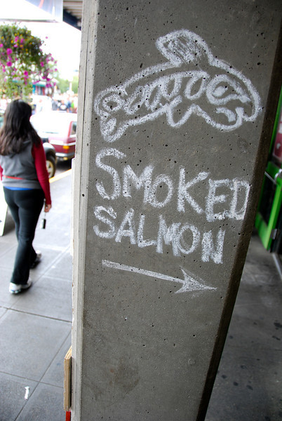 """<span id=""""title"""">Smoked Salmon</span> I thought this was funny, it looks kind of shady for fish. Would you follow this arrow? @ Pike Place Market"""