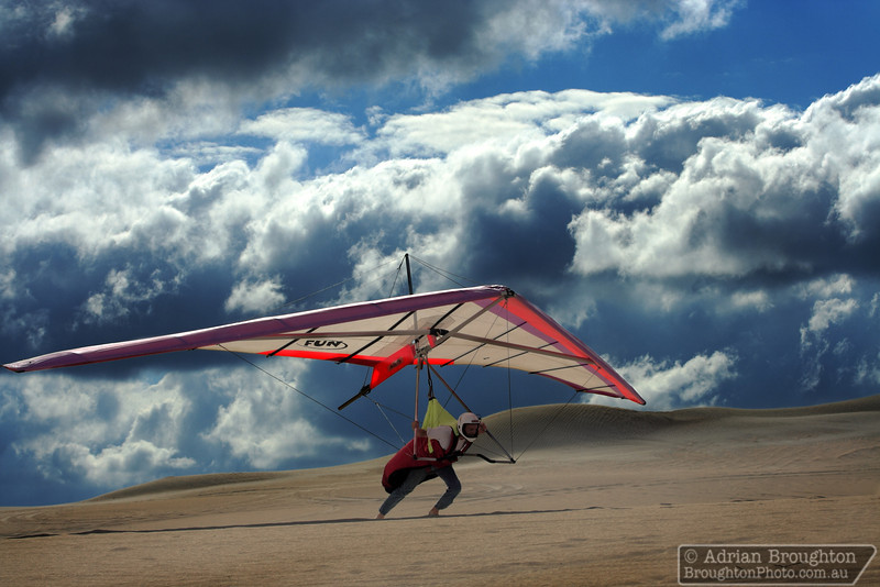 Rolf attempts a take-off in his hang glider.