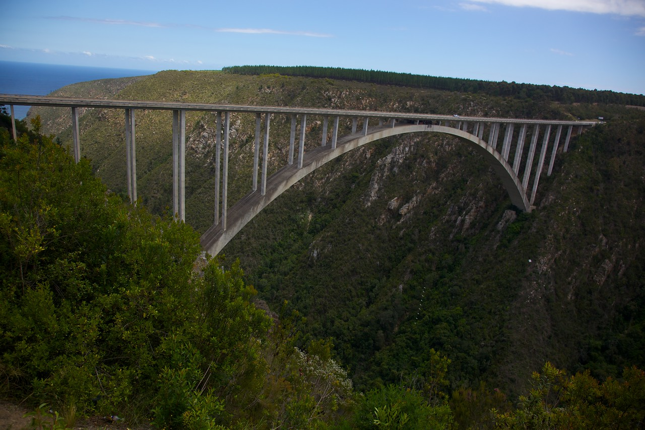 The Bloukrans Bridge in Western Cape is the world's highest commercial bridge bungy at 708 feet above the Bloukrans River.