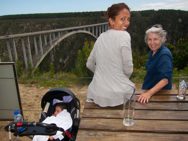 Watching crazy people jump off Bloukrans bridge.  Eden is not impressed.