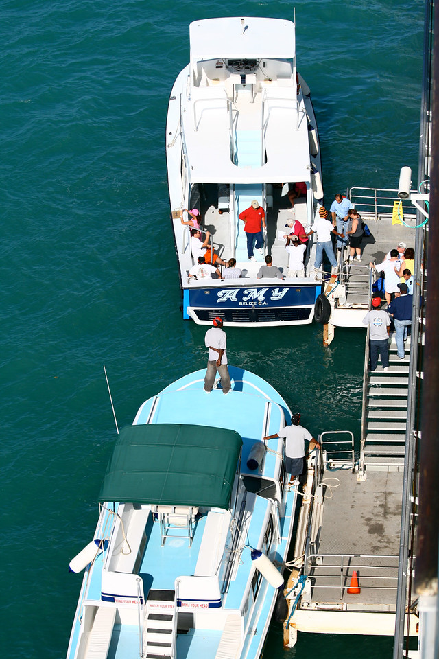WCaribb Cruise_The only way to Belize is by small boat due to the Coral Reef.