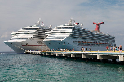 Carnival ships docked at Cozumel