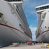 Carnival ships Valor and Conquest at the pier in Cozumel, Mexico