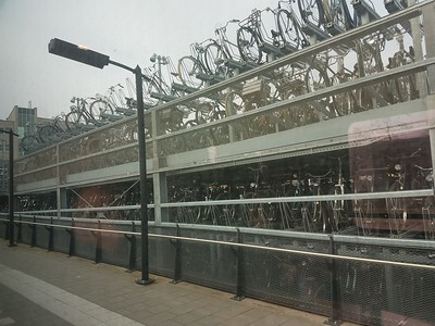 bicycles parked near rail station