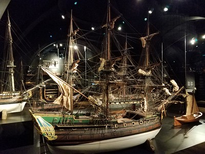 ship models on display in Rijksmuseum