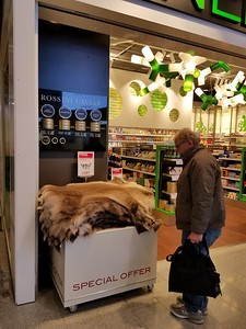 reindeer skins for sale at Helsinki airport