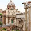 A closer look of Santi Martina e Luca and the Arch of Septimius Severus.