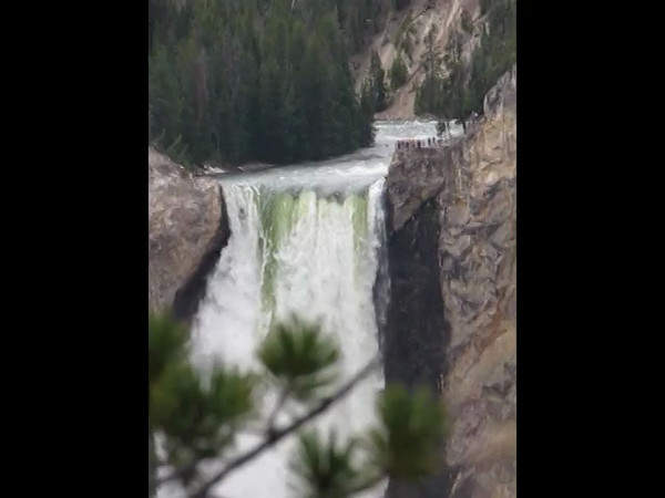 The Lower Falls on the Yellowstone River as it enters the Grand Canyon of the Yellowstone, Yellowstone National Park.