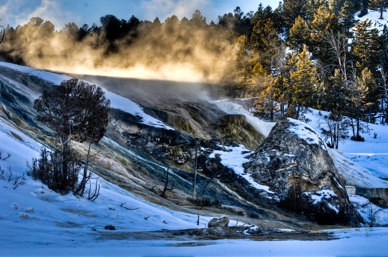 Mineral Hot Pools of Yellowstone National Park in the heart of winter.