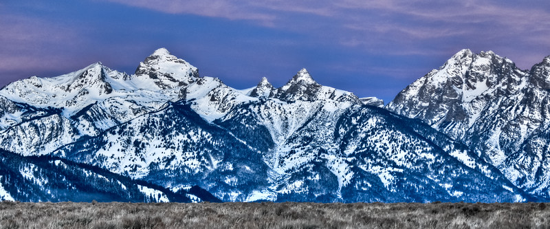 Panoramic View of Mountains of Wyoming at dawn.