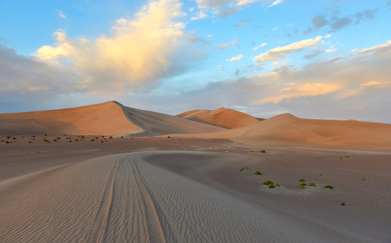 Sand Dunes along the Amargosa Desert at sunset