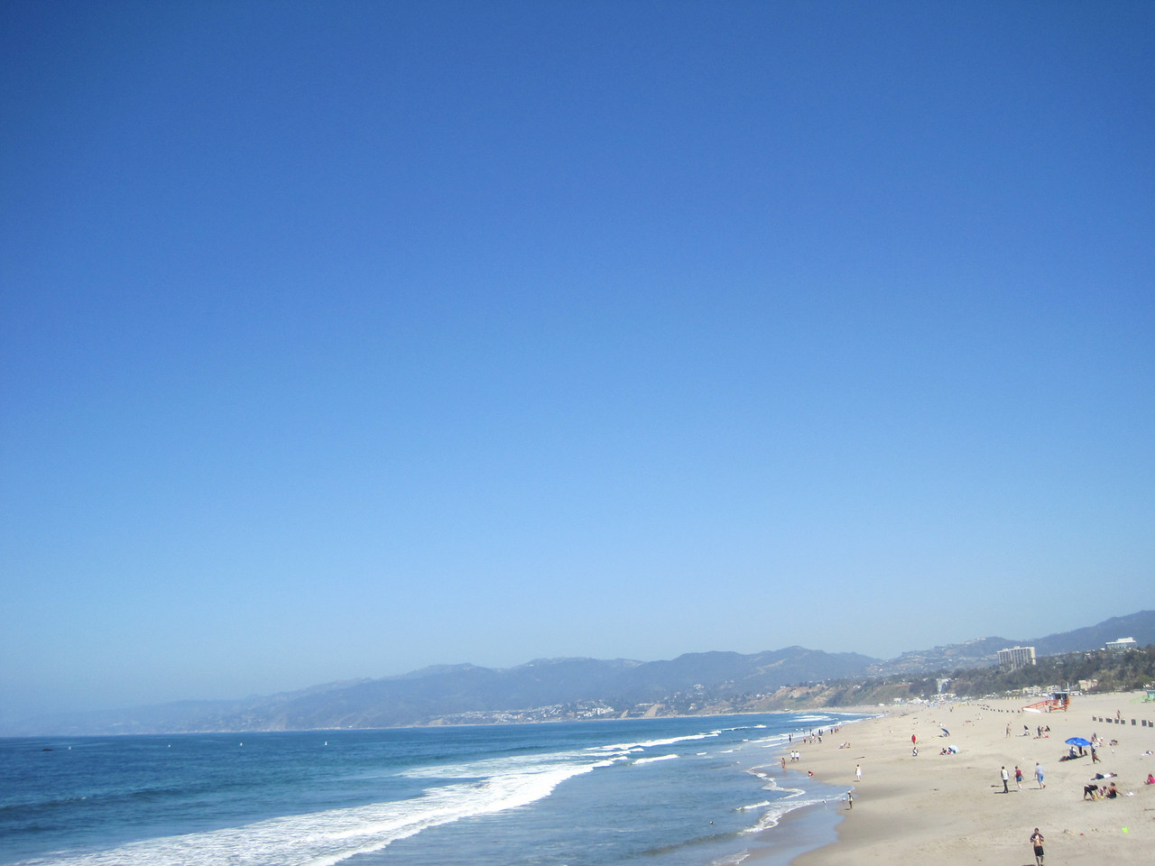 Santa Monica beach area, notice the mountains in the background.