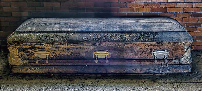 Coffin in the mortuary