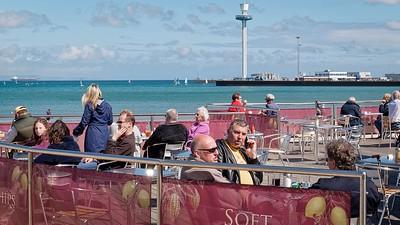 Morning coffee lookibg over Weymouth Bay