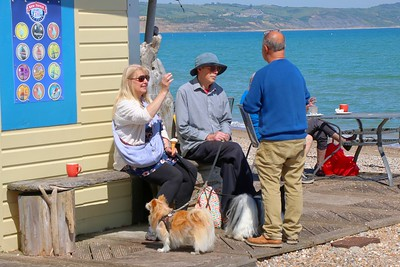 Chatting in the sunshine, while the dog studies the ice-cream options!