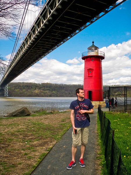 "The Little Red Lighthouse, under the Manhattan tower of the George Washington Bridge, is one of the best ""stay-cation"" spots in New York."