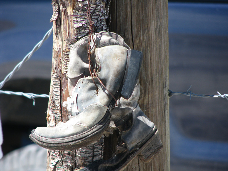 Hanging boots.