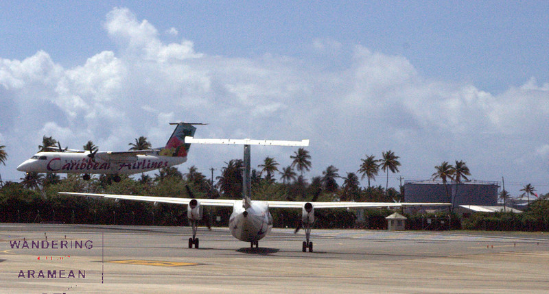 Traffic jam on the single runway at Tobago's International Airport