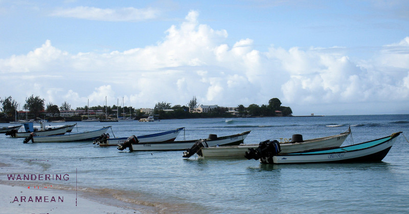 Fishing boats off of Cable Bay, Tobago