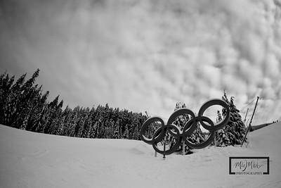Olympic Rings near the end of the downhill course at Whistler Blackcomb in British Columbia, Canada.   © Copyright m2 Photography - Michael J. Mikkelson 2009. All Rights Reserved. Images can not be used without permission.