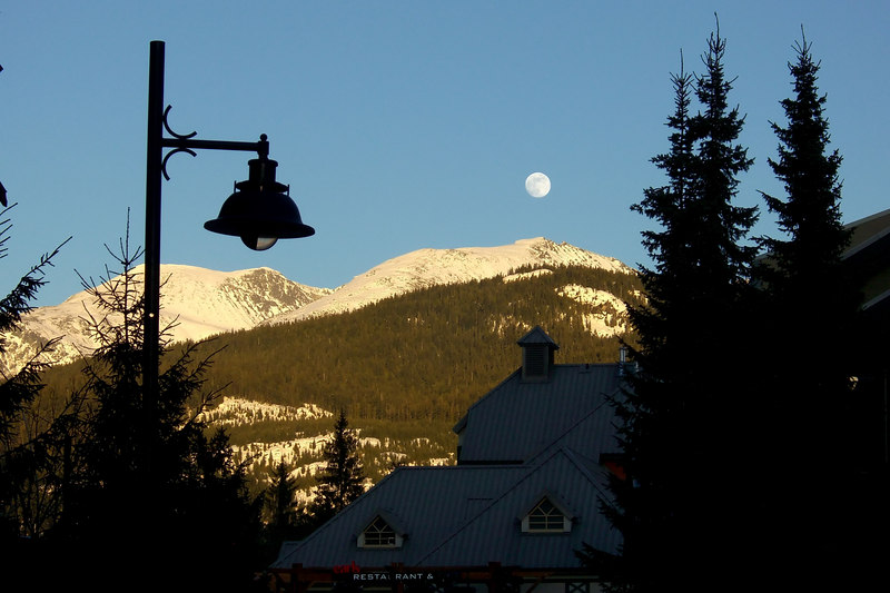 The moon was full along 'the stroll' in Whistler Village.