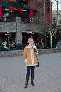 Margaret Outside Our Usual Apre-Ski Location