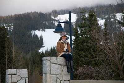 Margaret at Whistler Village; Blackcomb Mountain Behind