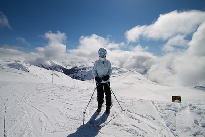 Margaret on the Track Down from Whistler Peak