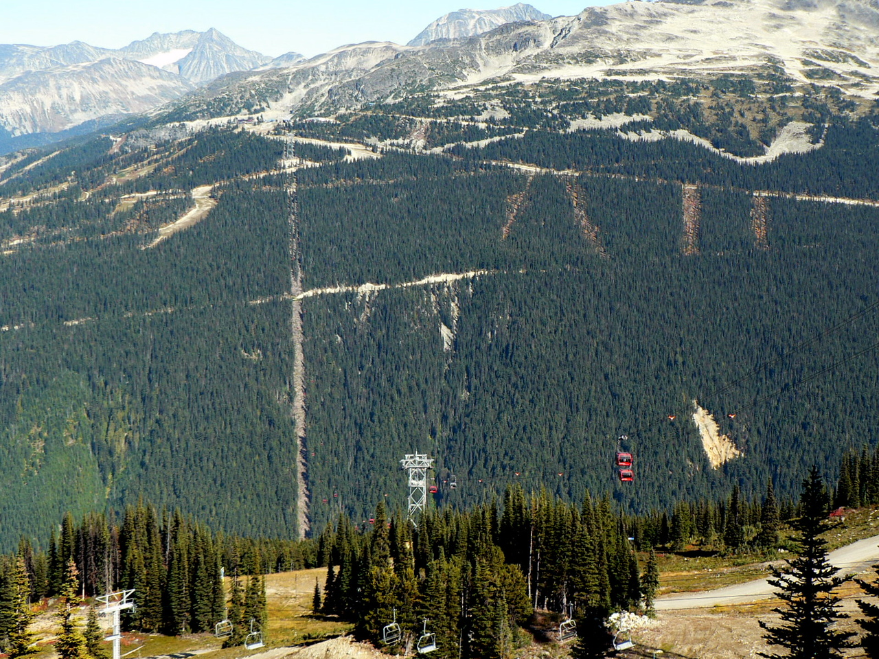 "Looking acrosst to Blackcomb Mt. and the ""Peak 2 Peak"" tram.  The tower in the picture on this side and the one, almost at the top, on the otherside span 1.88 miles."