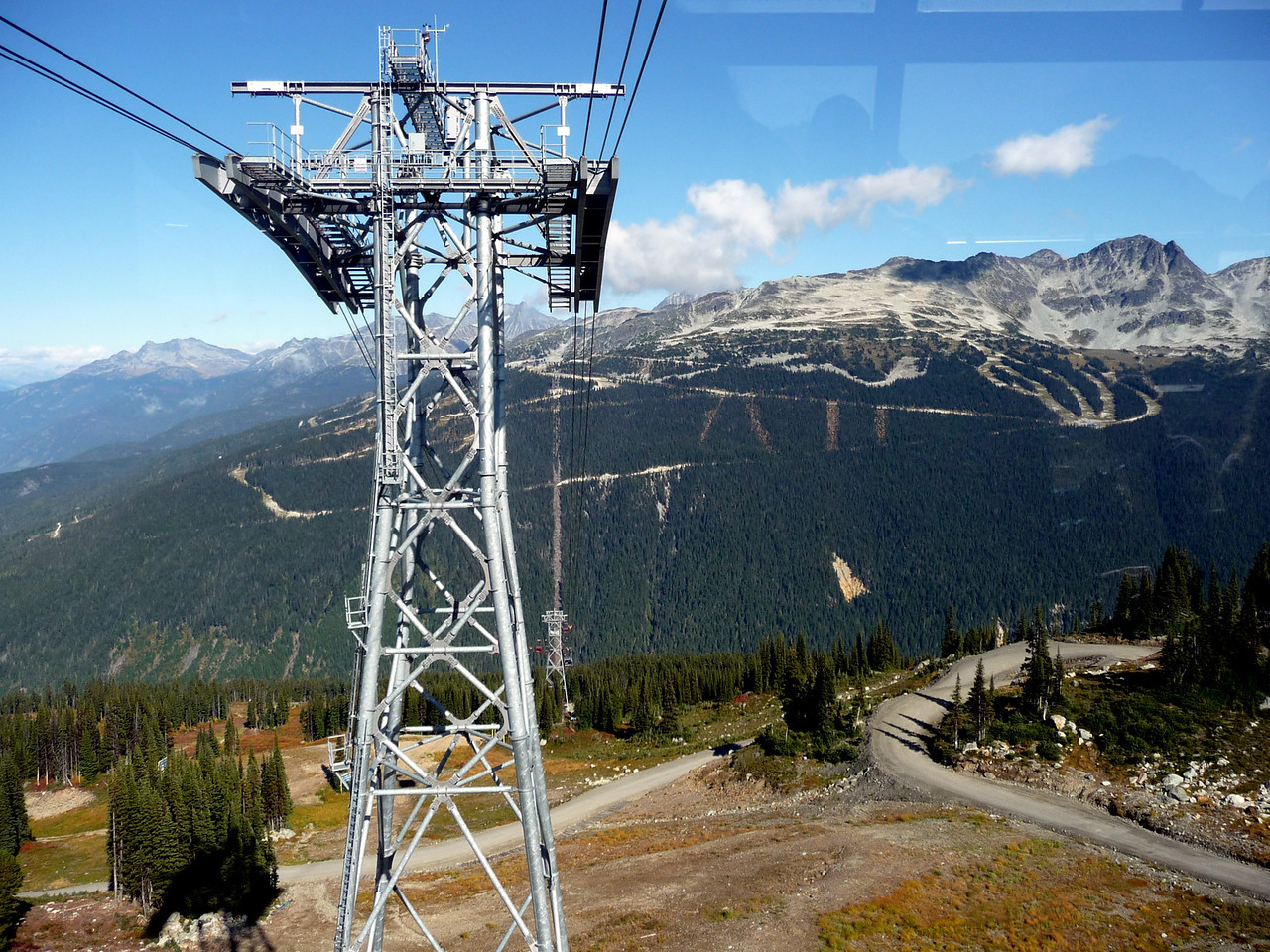 "We're riding the ""Peak 2 Peak"" tram between Whistler and Blackcomb"