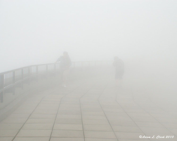 My mother and girlfriend trying to make their way across the observation deck