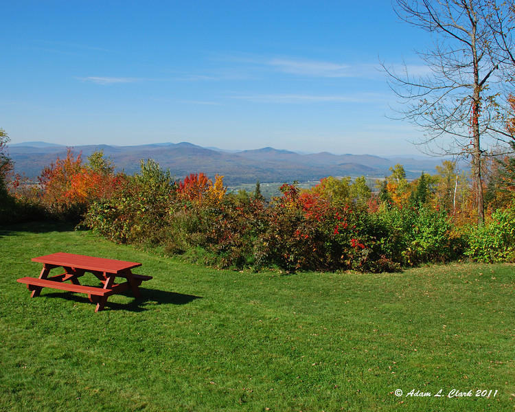A picnic table with a view