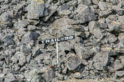 Sign showing location of 1898 Gold Rush Trail