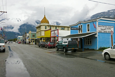 It's a rainy and misty day in the town of Skagway Alaska