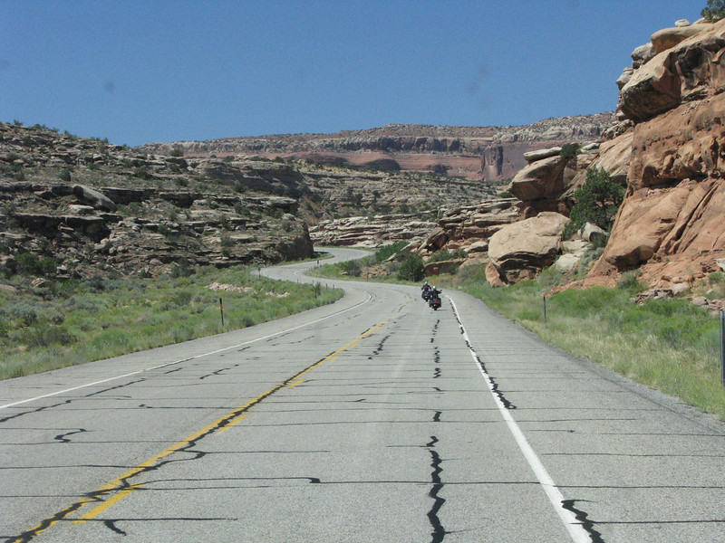 Two motorcyclist headed towards Canyonland.