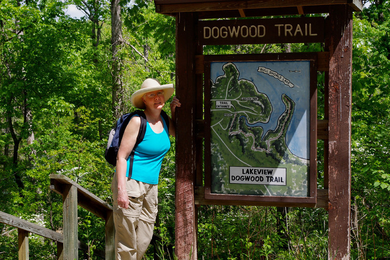 Rita at the Dogwood Trail trailhead, Lakeview, Arkansas.