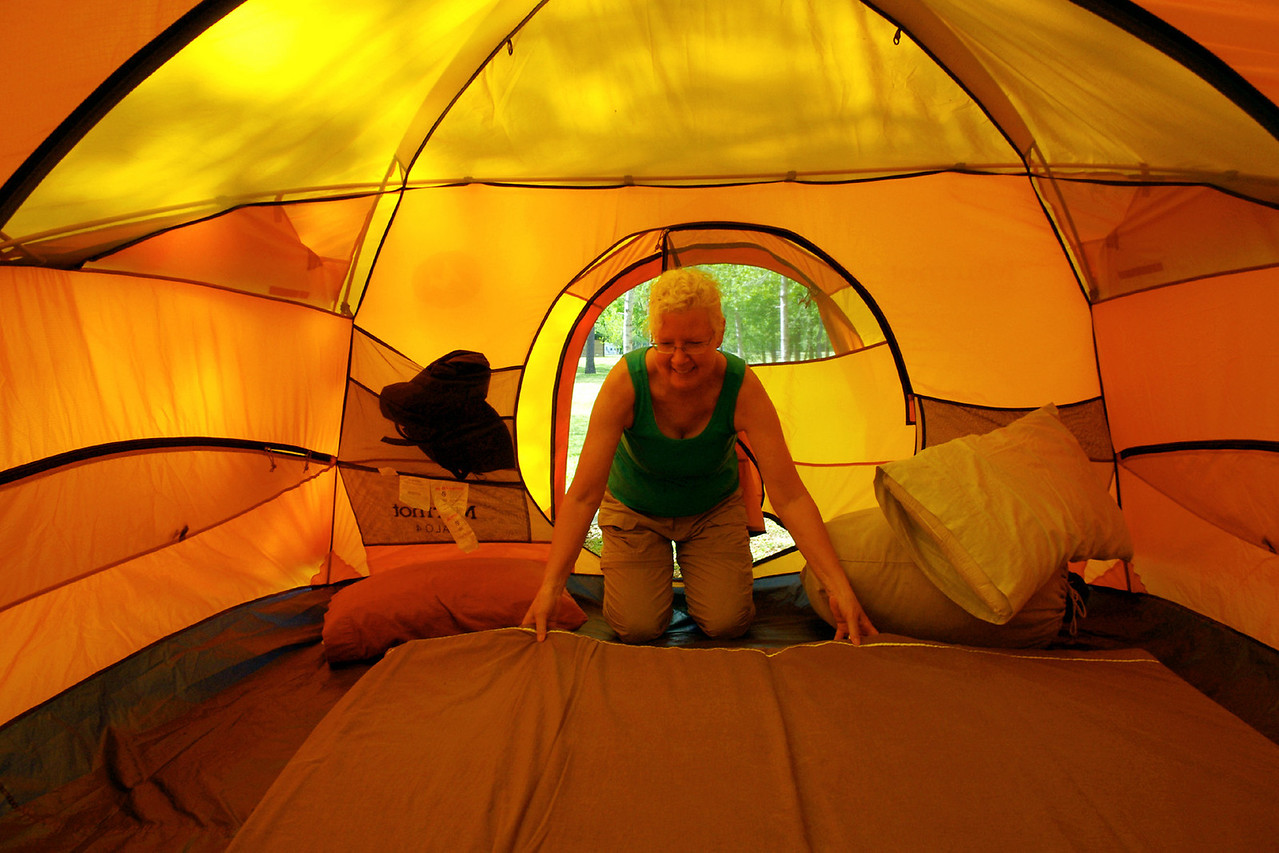 Rita in her Marmot tent, Bull Shoals White River State Park, Arkansas.