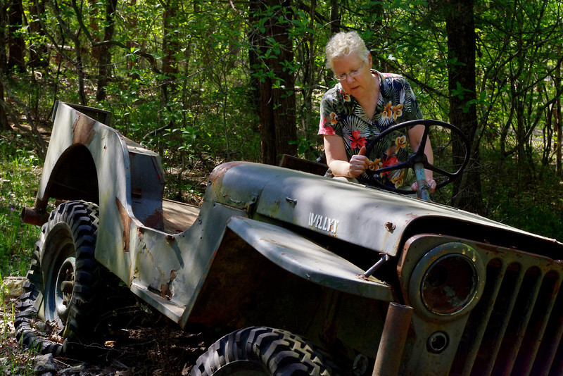 Rita, WWII Jeep, nature trail, Gaston's Resort, Lakeview, Arkansas.