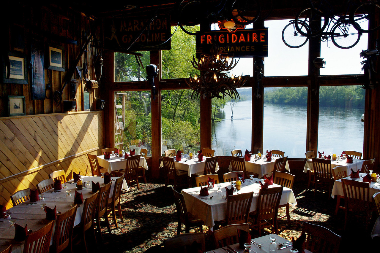 View down the White River from the dining room of Gaston's Resort, Lakeview, Arkansas.