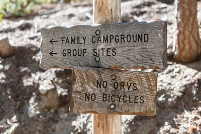 Sign post showing how to get from Whitney Portal Store to the Campgrounds