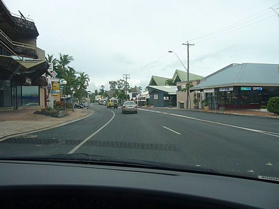 Drive-through of Airlie Beach township along Shute Harbour Road.