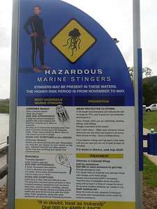 Another take of the warning sign for Box Jellyfish and Irukandji.