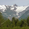 A view of the snow-capped mountain from Whittier, Alaska.