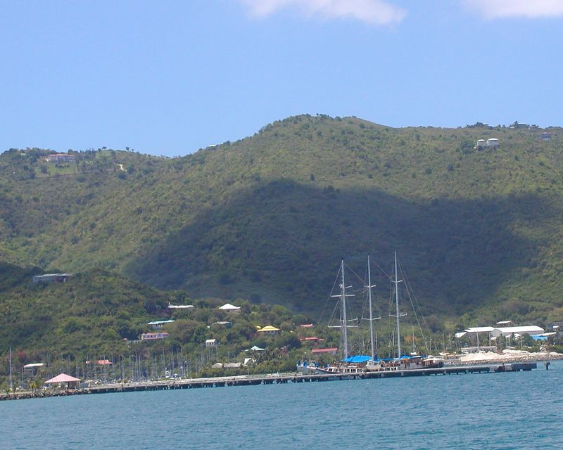Our first view of the Mandalay - docked on Tortola (Roadtown Harbor)