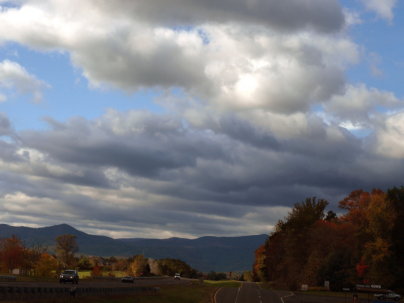 Approaching the Blue Ridge Mountains on the way to  Shenandoah National Park, October 28, 2008.