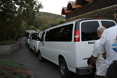 Vans lined up ready to roll to the launch site.