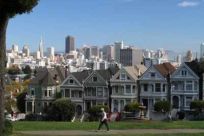 Another world south of Wine Country - Alamo Square with the Painted Ladies in the sunlight and San Francisco skyline in the background.