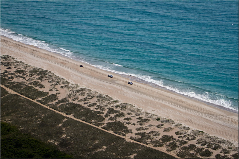"4WD convoy looking for the ""big ones"" on Core Banks beach"