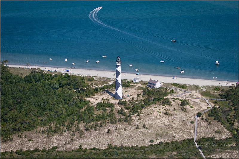 Cape Lookout Lighthouse with circular polarizer - Being a photographer too, David safely piloted the airplane for optimum angles and perspective.